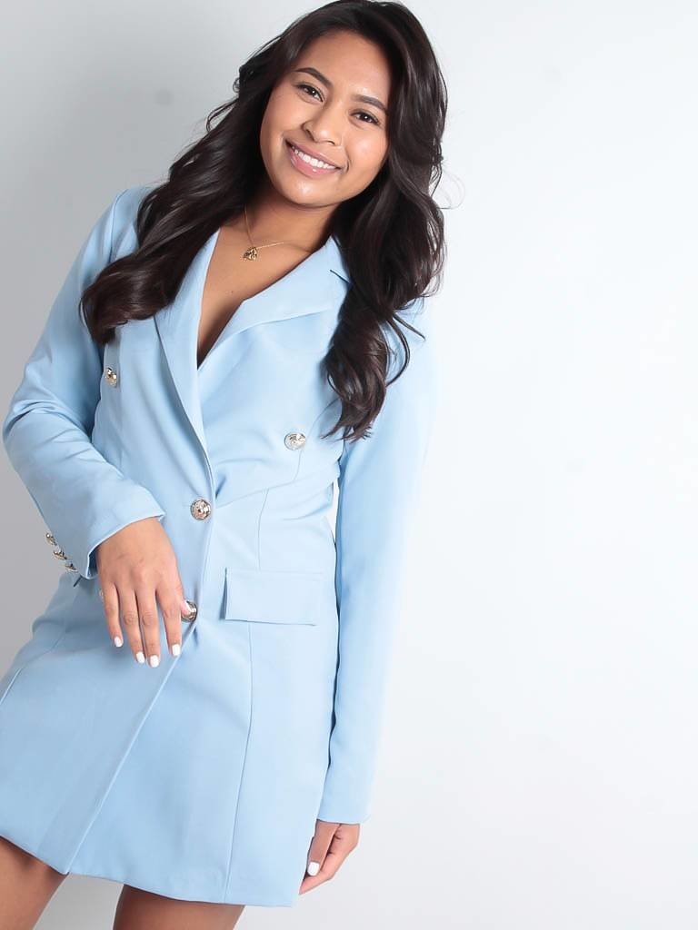 LADYLIKE FASHION Silver button detail blazer dress blue