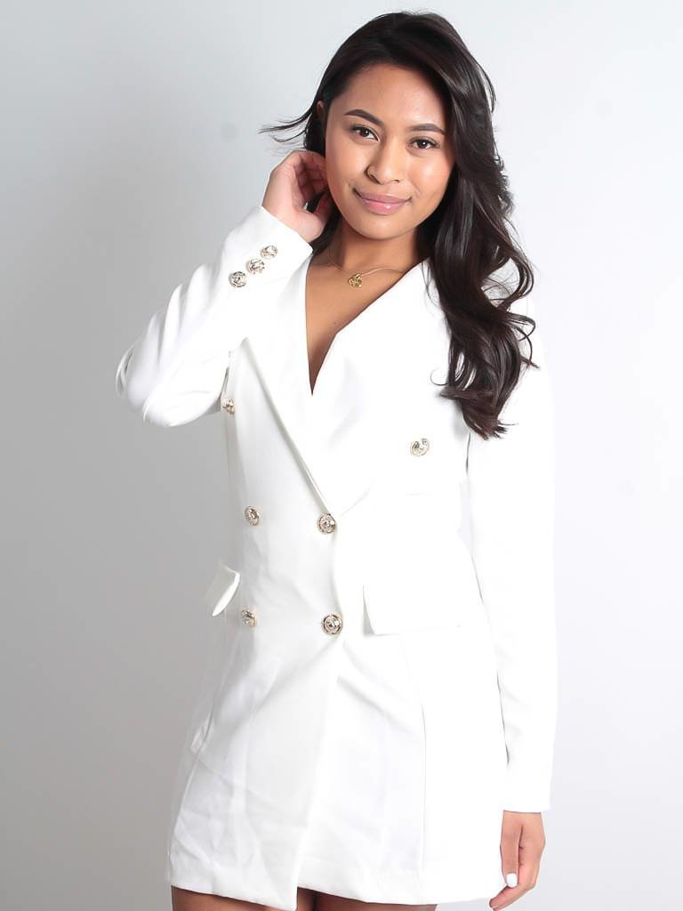 LADYLIKE FASHION Silver button detail blazer dress white