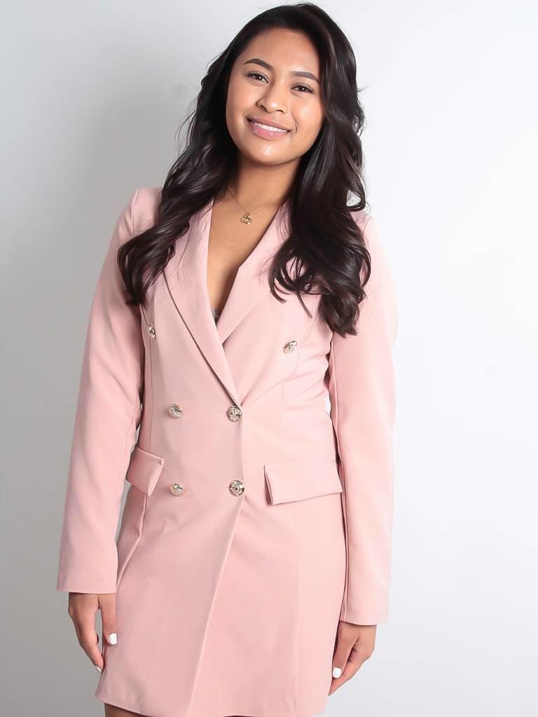 LADYLIKE FASHION Silver button detail blazer dress pink