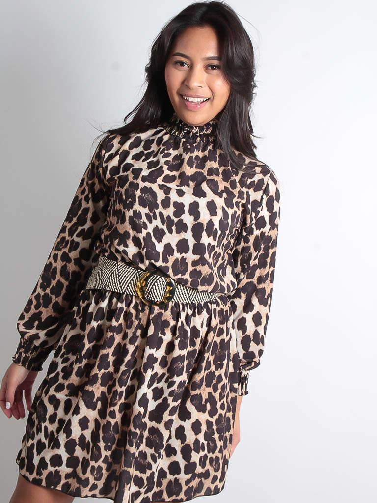LADYLIKE FASHION Leopard dress turtle neck