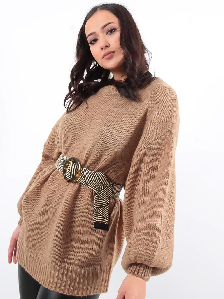 LADYLIKE FASHION Camel knitted jumper dress