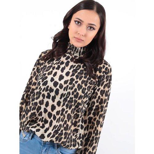 LADYLIKE FASHION Leopard blouse turtle neck