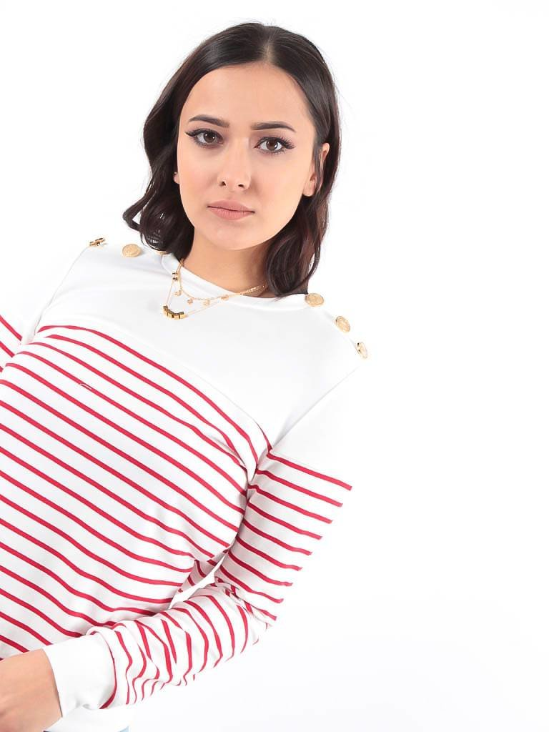 LADYLIKE FASHION Striped sweater red