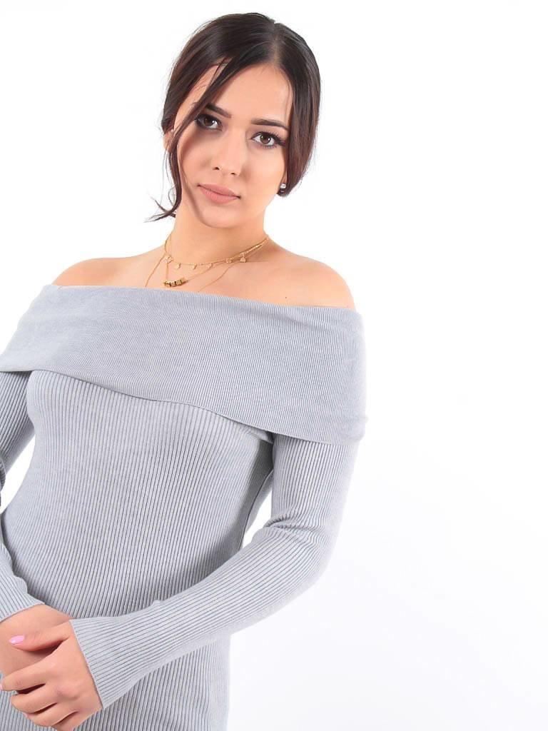 LADYLIKE FASHION Off shoulder jumper grey