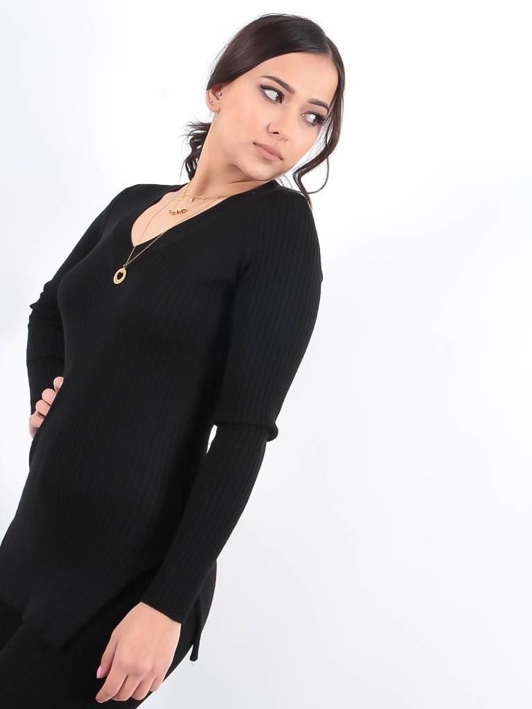 LADYLIKE FASHION MUSTHAVES Black rib knit jumper