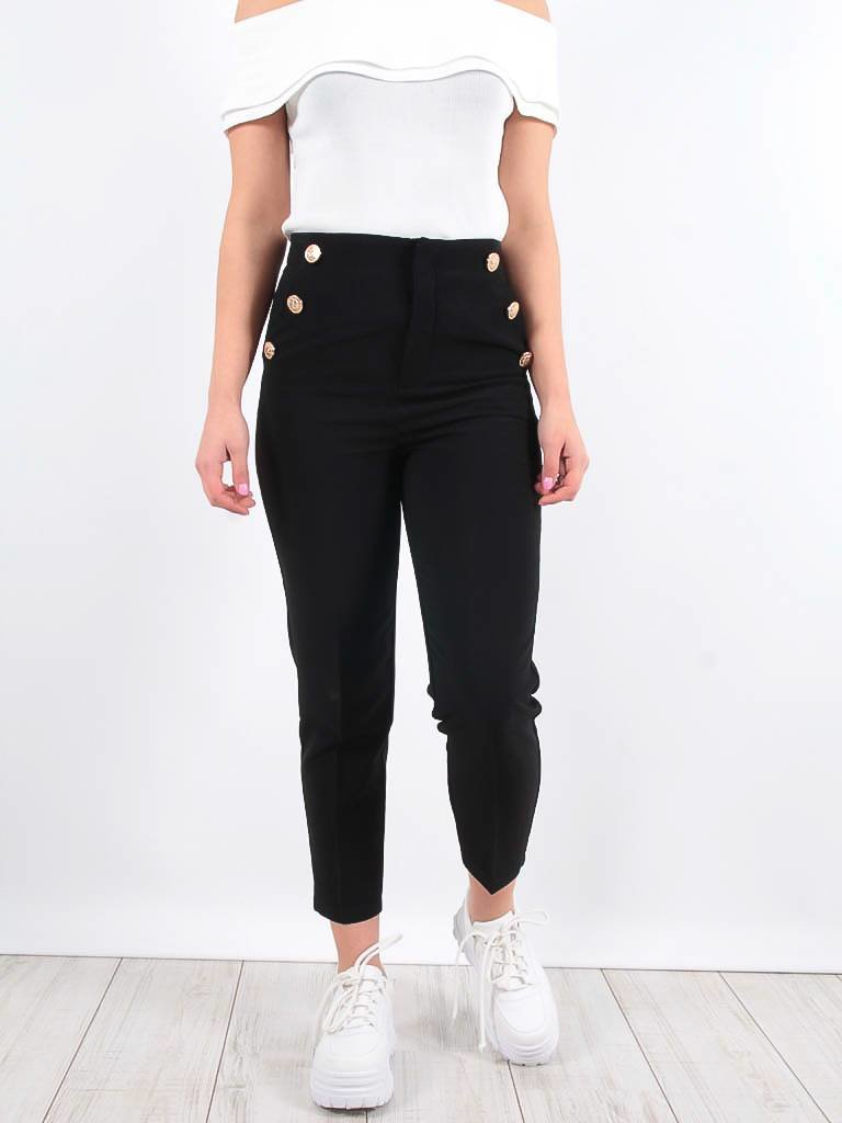 LADYLIKE FASHION MUSTHAVES Black military button tapered leg trousers