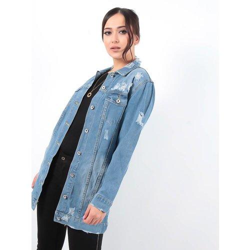 Ladylike Lightwash distressed denim jacket