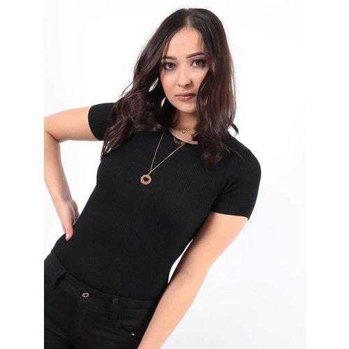 Ladylike Black rib short sleeve top