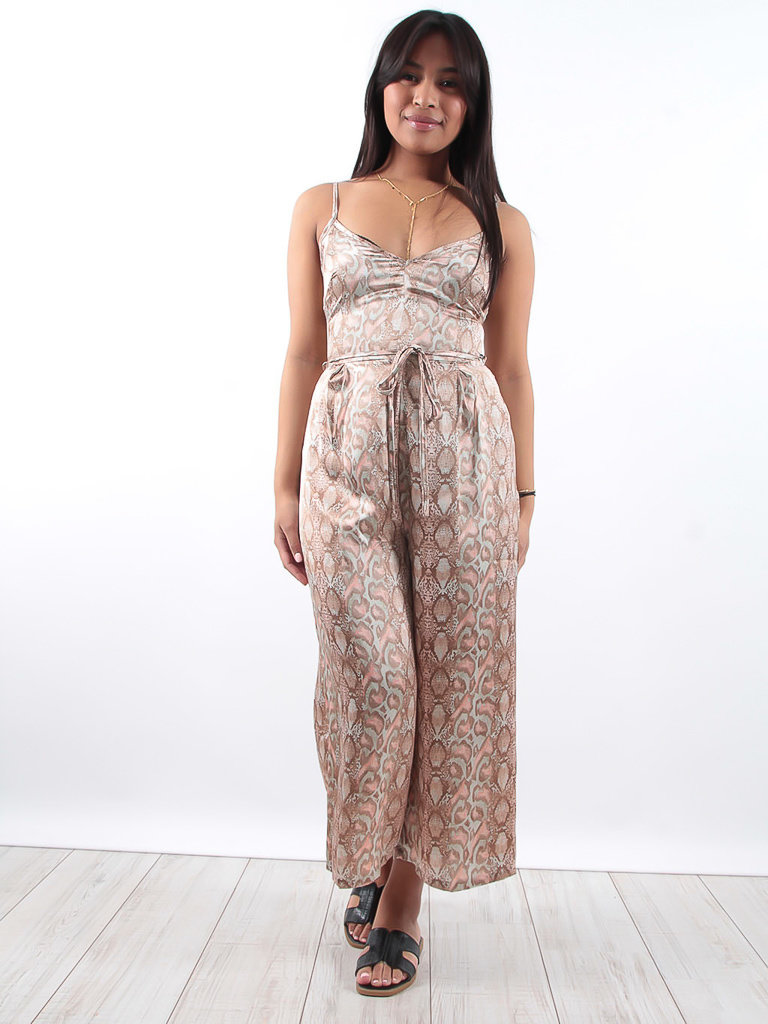 LADYLIKE FASHION Satin soft pastel snake print jumpsuit
