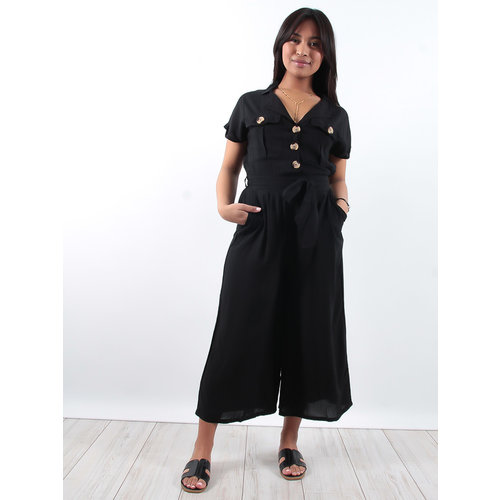 LADYLIKE FASHION Cotton black utility jumpsuit with buttons