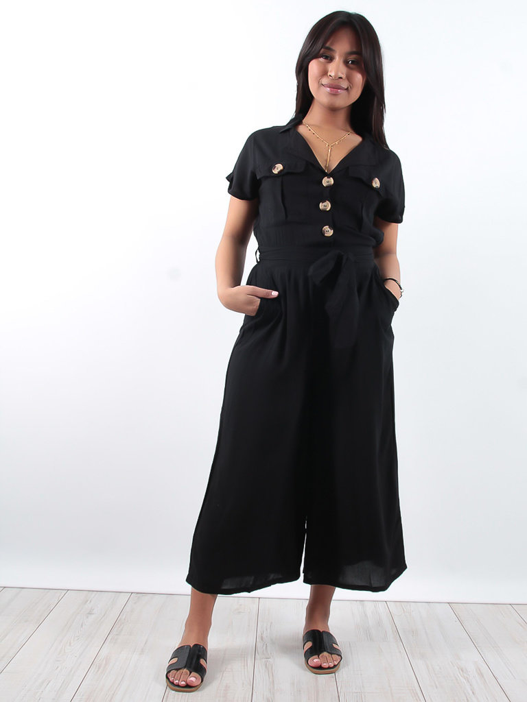 f0c57ba15e4 LADYLIKE FASHION Cotton black utility jumpsuit with buttons