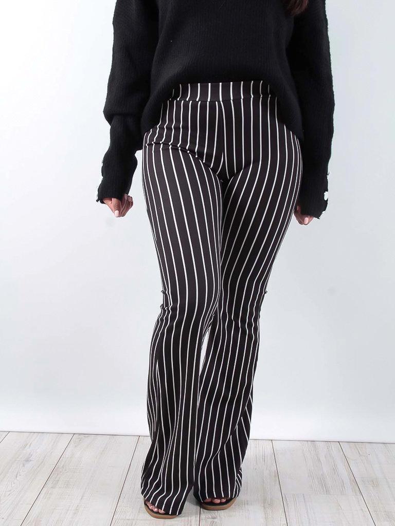 LADYLIKE FASHION Striped print flared trousers black