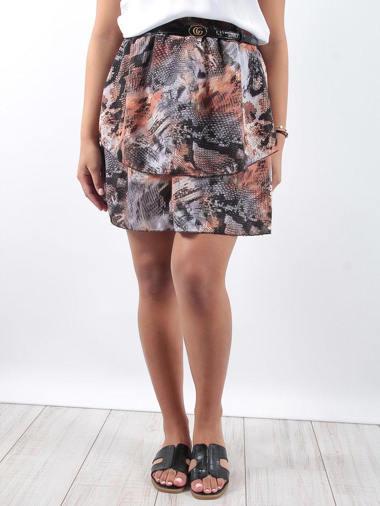 LADYLIKE FASHION Snake layer skirt orange
