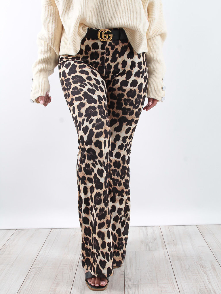 LADYLIKE FASHION Leopard print flared trousers