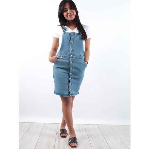LADYLIKE FASHION Mid wash front pocket denim pinafore dress