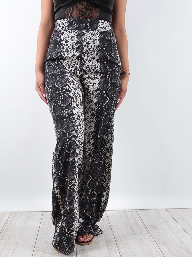 LADYLIKE FASHION Wide leg snake print trousers