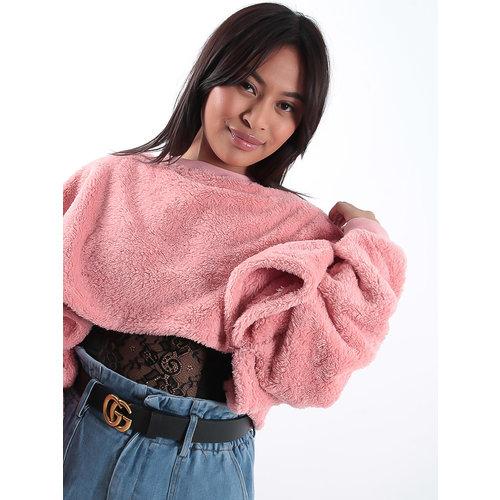 LADYLIKE FASHION Pink teddy batwing sweater