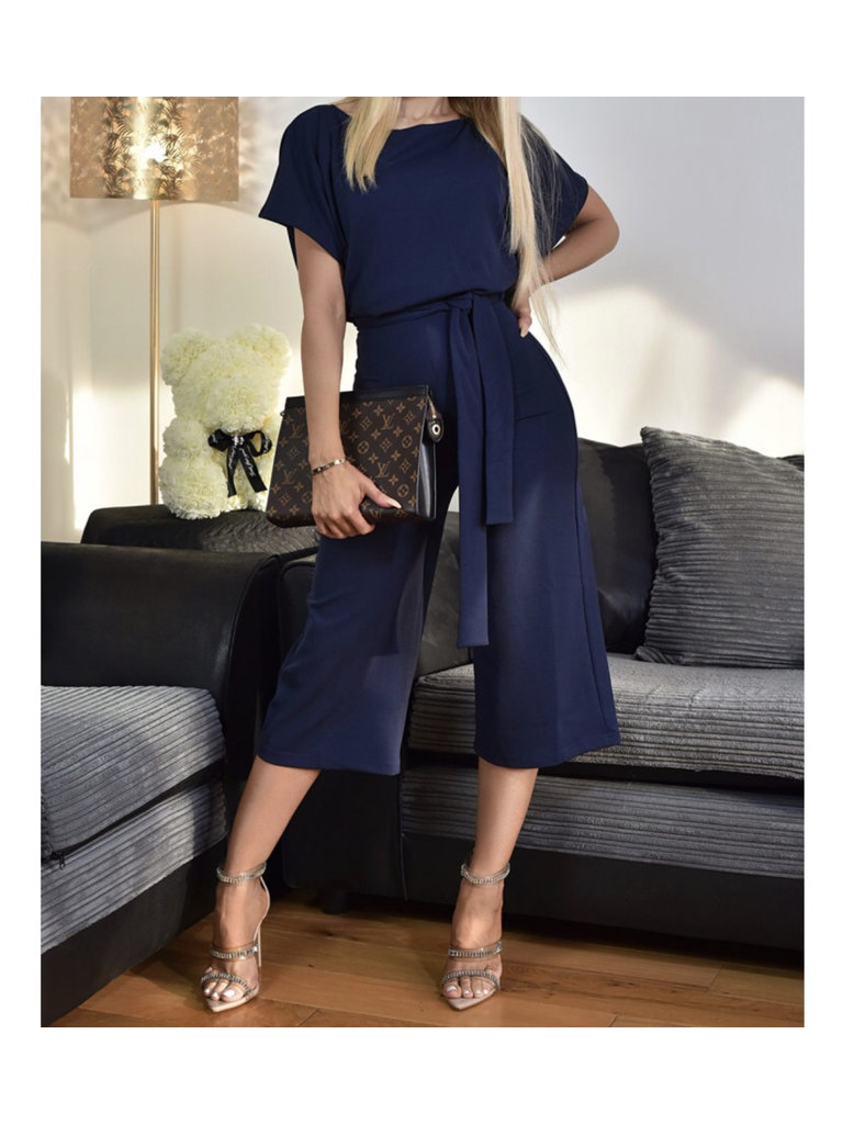 LADYLIKE FASHION Navy batwing belted jumpsuit