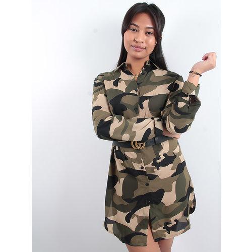 LADYLIKE FASHION Camouflage Print Shirt Dress