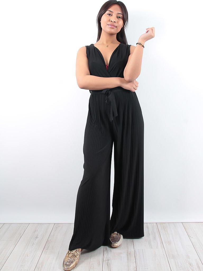 LADYLIKE FASHION Pleated tie waist jumpsuit black