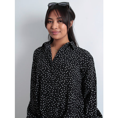 LADYLIKE FASHION Long Sleeve Dotted Front Tie Blouse Black
