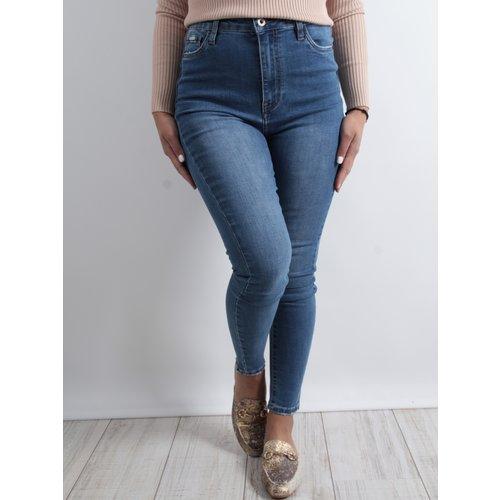 QUEEN HEARTS Skinny crop side slit jeans