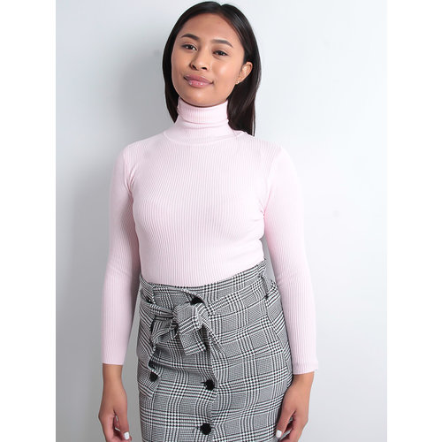 LADYLIKE FASHION Baby Pink Roll Neck Jumper