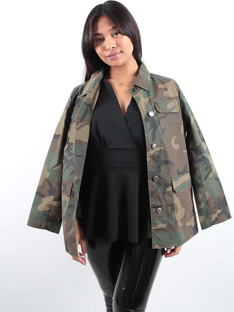 LADYLIKE FASHION Cropped Camouflage Jacket Khaki