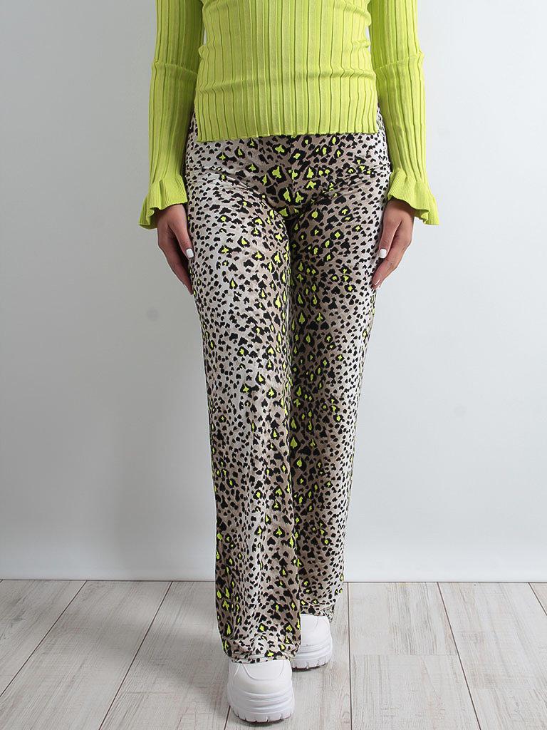 LADYLIKE FASHION Grey Leopard Wide Leg Trousers