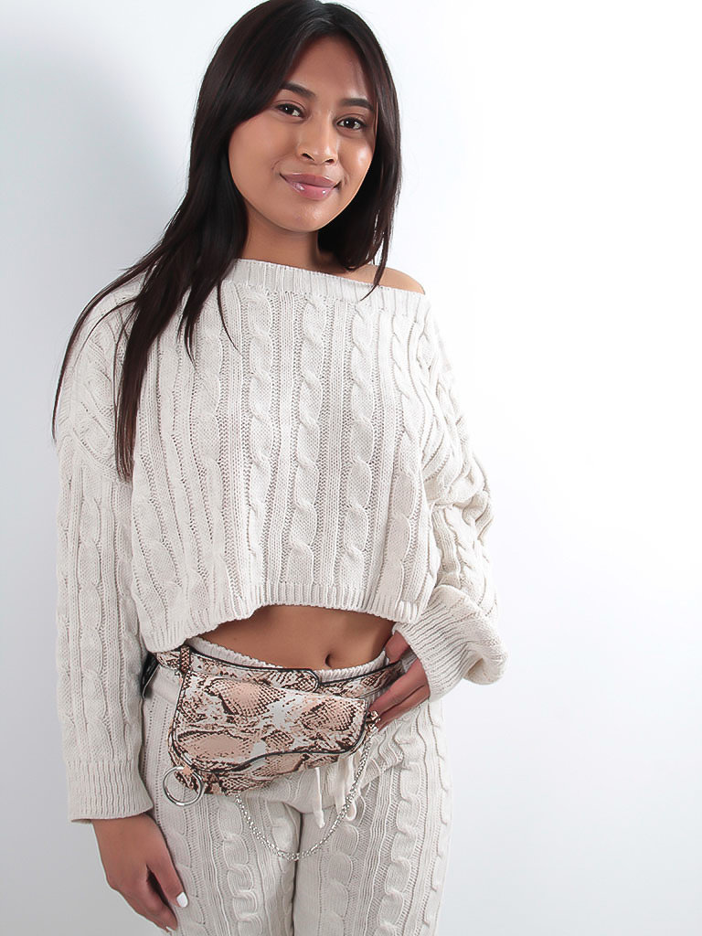 LADYLIKE FASHION Fine knitted co-ord with drawstring detail cream