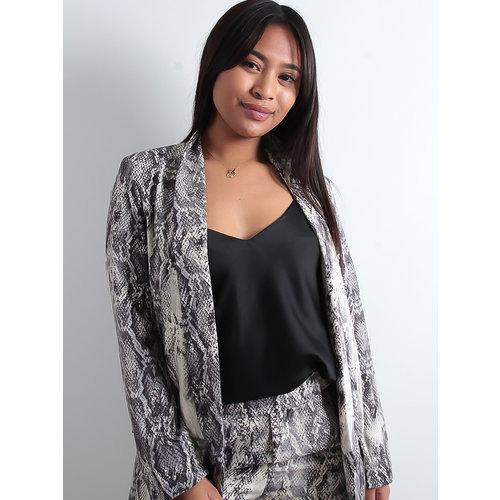LADYLIKE FASHION Grey Snake Blazer Jacket