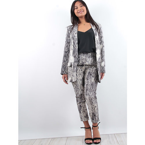 LADYLIKE FASHION Grey Snake Tapered Trousers