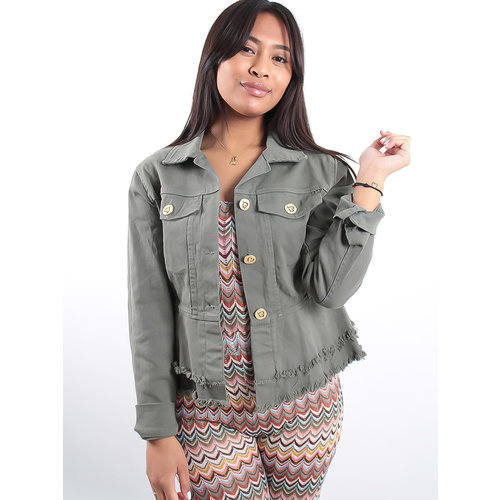 LADYLIKE FASHION Button heart fray denim jacket khaki