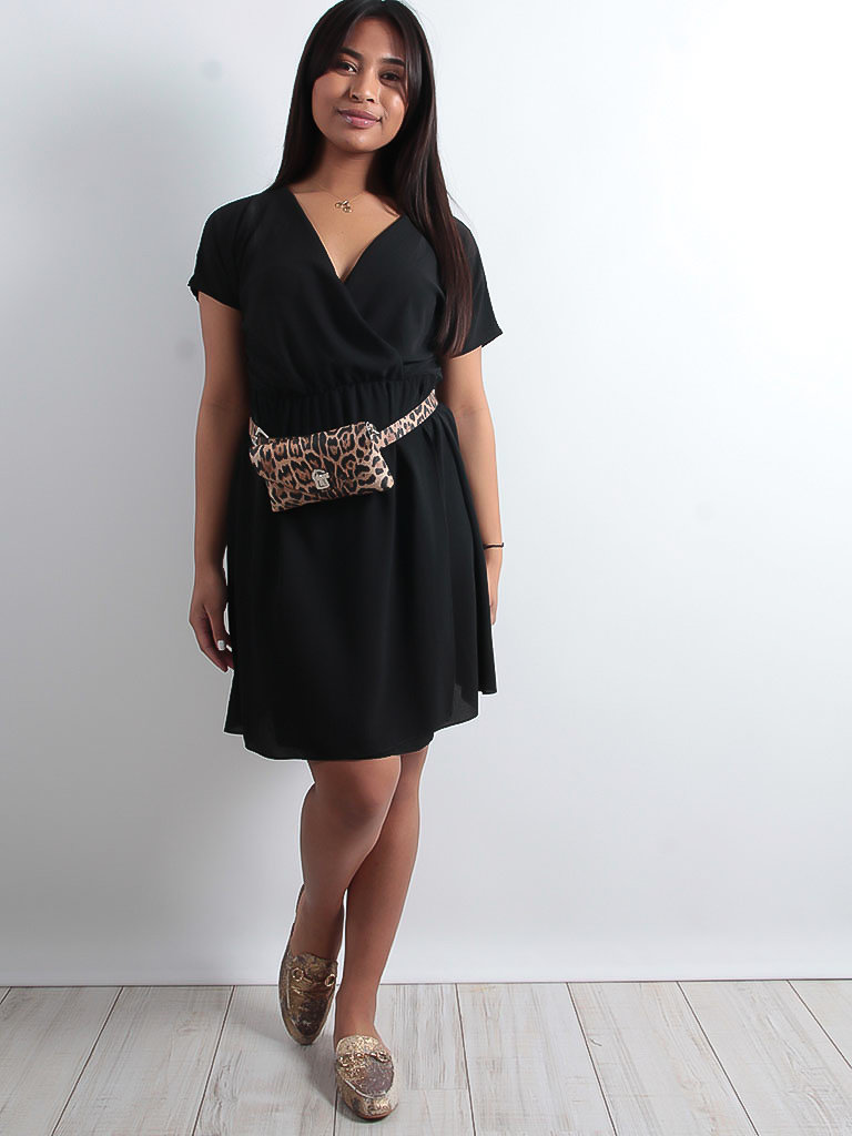 LADYLIKE FASHION Wrap front dress black