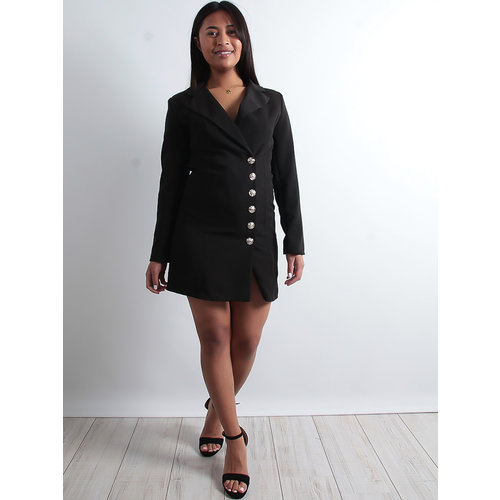 LADYLIKE FASHION Button detail blazer dress black