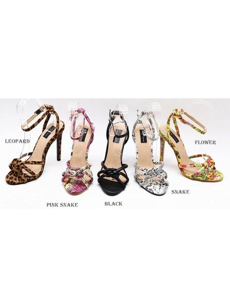 LADYLIKE FASHION Snake Print Heeled Sandals