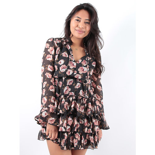 LADYLIKE FASHION Black Ruffled Flower Print Dress