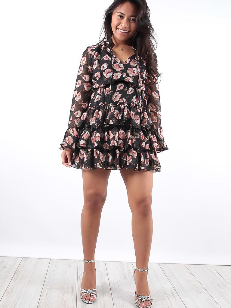 61a67b46be5 LADYLIKE FASHION Black Ruffled Flower Print Dress