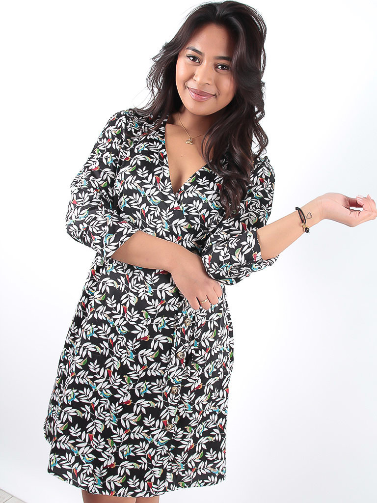 LADYLIKE FASHION Black Bird Print Wrap Dress