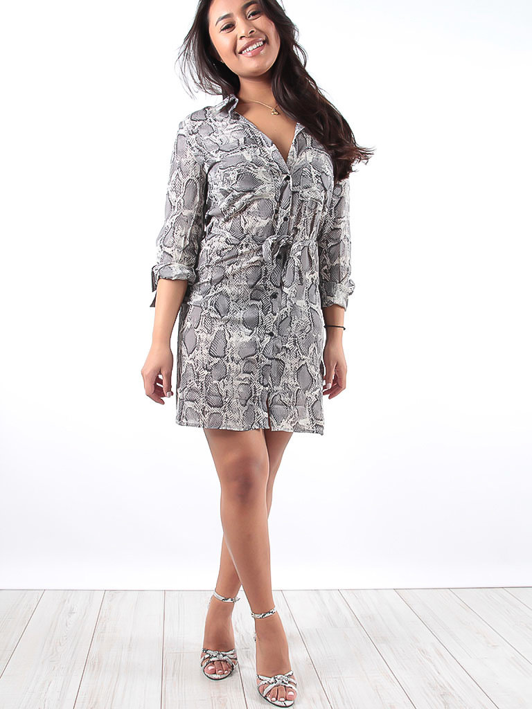 LADYLIKE FASHION Grey Snake Print Shirt Dress