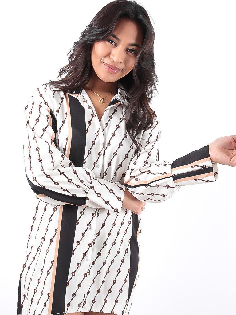 LADYLIKE FASHION Beige Rope Print Button Down Blouse Dress
