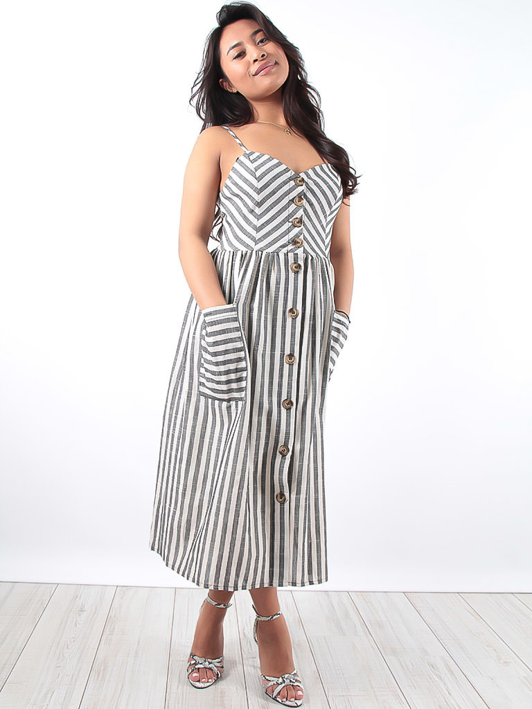 LADYLIKE FASHION Grey Striped Button Front Midi Dress