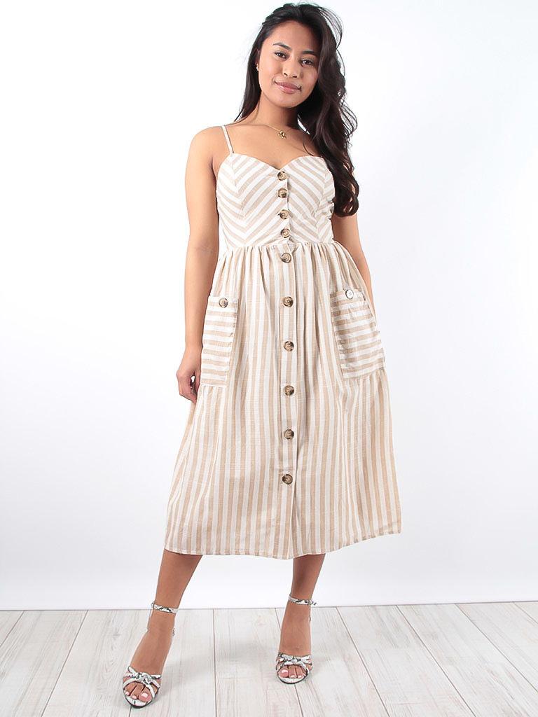 LADYLIKE FASHION Beige Striped Button Front Midi Dress