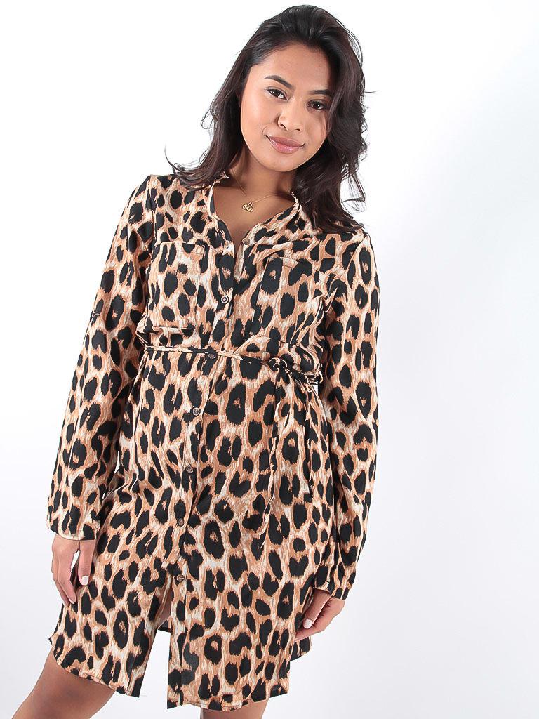 LADYLIKE FASHION Leopard Print Shirt Dress