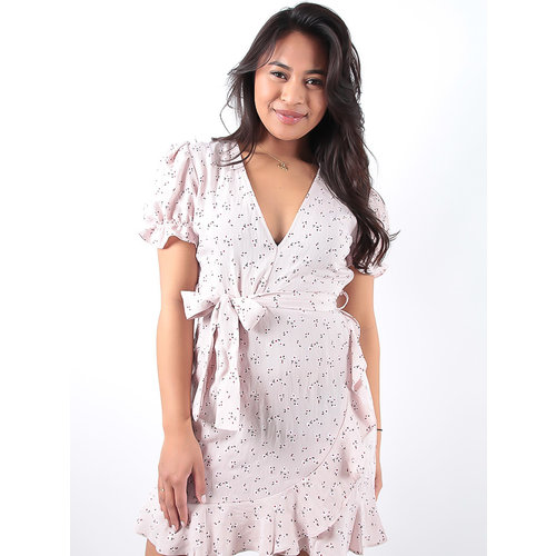 LADYLIKE FASHION Pink Cotton Flower Print Dress