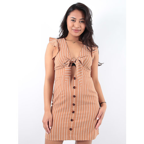 LADYLIKE FASHION Camel Button Down Front Knot Dress