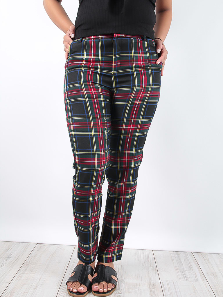 LADYLIKE FASHION Tartan Check Trousers Black
