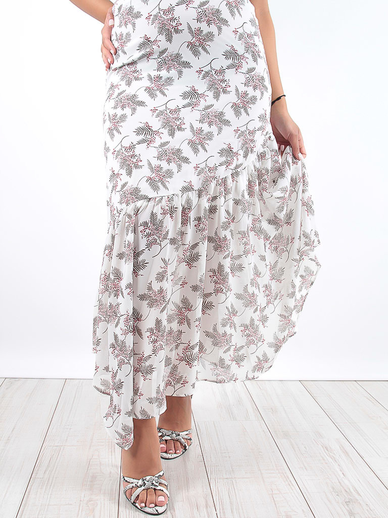 LADYLIKE FASHION Maxi Volant Print Dress White