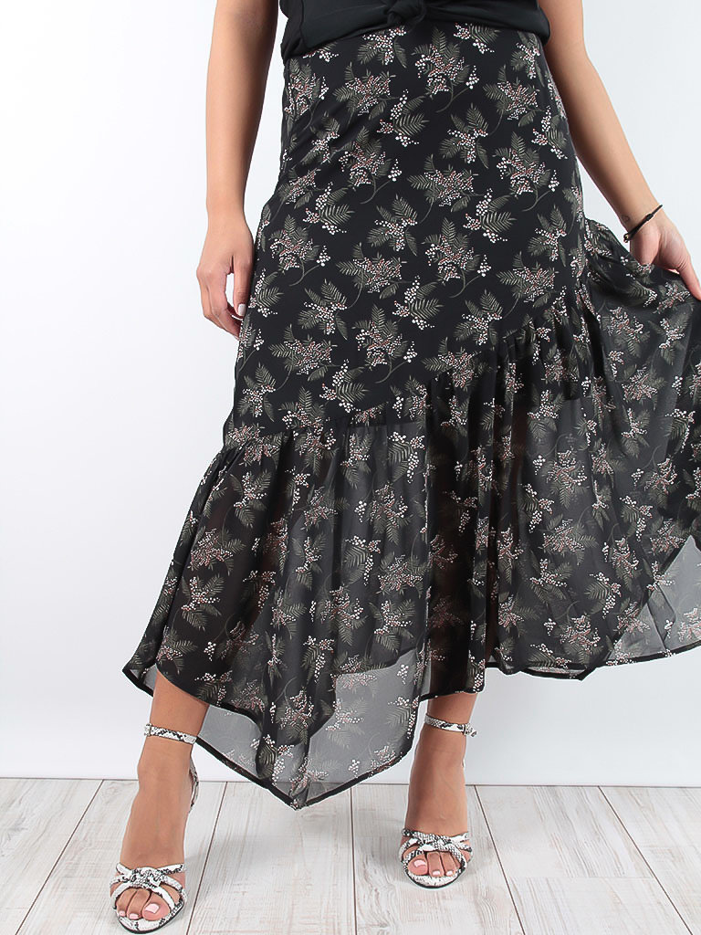 LADYLIKE FASHION Maxi Volant Print Dress Black
