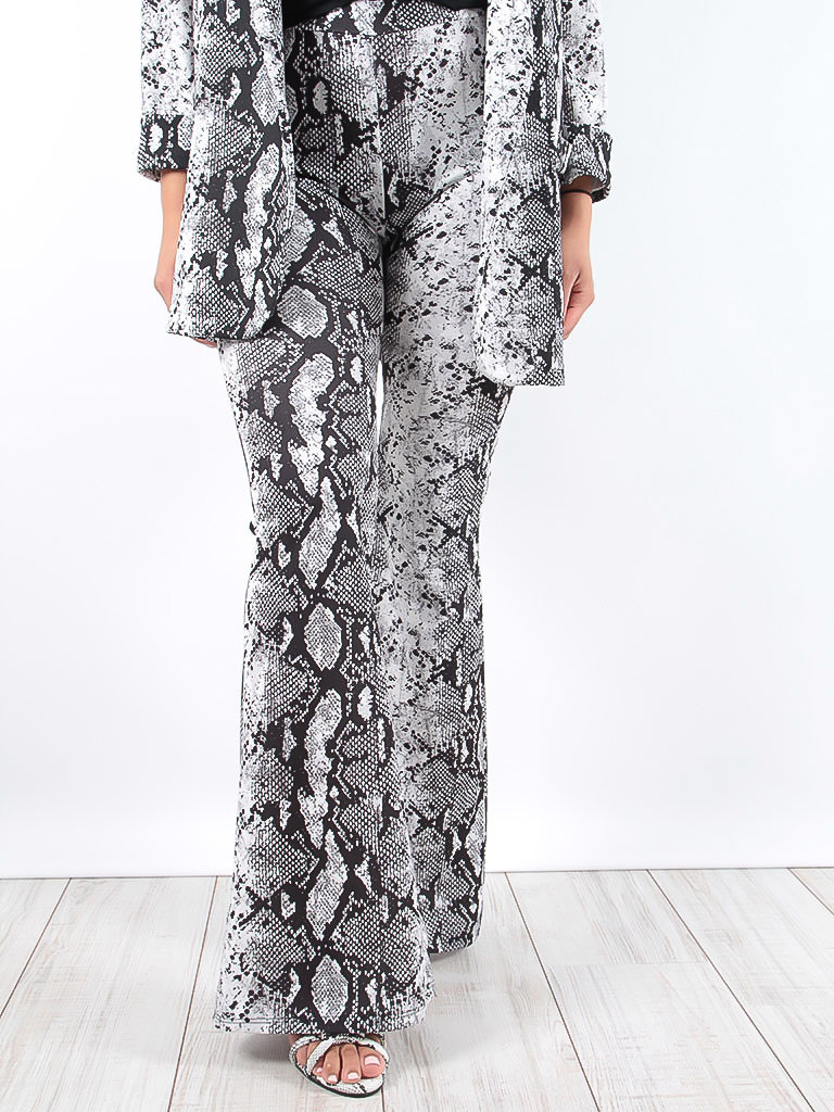 LADYLIKE FASHION Snake print flared trousers Grey